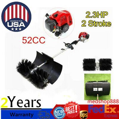 52cc Gas Power Nylon Brush Sweeping Broom Driveway Turf Lawns Hand Held Sweeper
