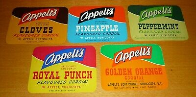 Collectable soft drink labels - 5 Appelts flavoured cordial 1/2 Gal labels MINT