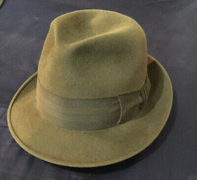 Royal Stetson Fedora Whippet Hat Vintage 50's Moss Green Immaculate Genuine