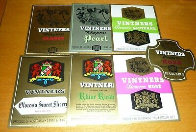 Collectable wine labels - Set of 7 Vintners imperial wine labels MINT