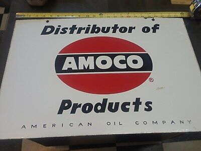 """Double Side-Hanging Porcelain """"Distributor of Amoco Products"""""""