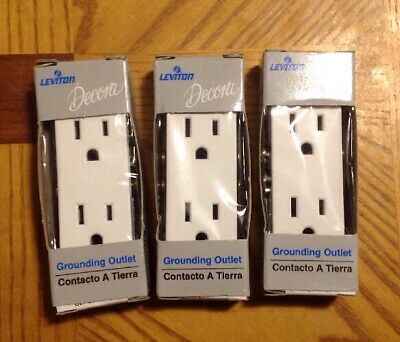 Lot of 3 New Leviton 102-5325-WSP White Decora Receptacles (15 Amp, 125 Volt)