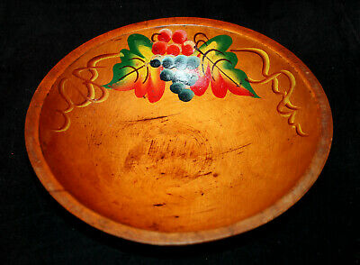 Old Antique Primitive Hand Painted Footed Treenware Wooden Fruit Dough Wood Bowl