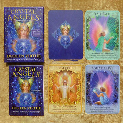 44pcs Crystal Angels Oracle Cards Playing Board Game Oracle Card Gift 10*7cm