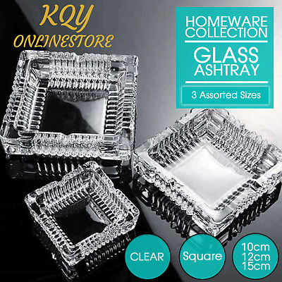 Glass Ashtray 3 Sizes Square Butt Home Garden Outdoor Tabletop Decor AU Clear