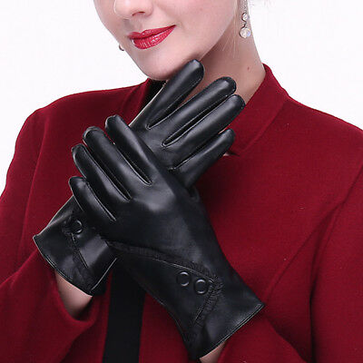 Women Winter Warm Soft PU Leather Gloves Windproof Touch Screen Mittens us