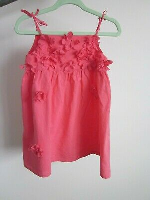 SEED BABY pink dress with flowers - size 12-18 months / size 1