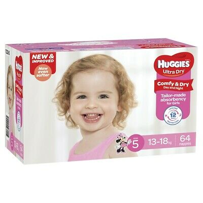 Huggies Nappies Girls Size 5 (13-18 kg) 64 Pack
