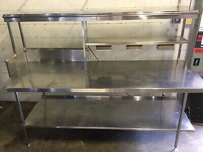 Commercial Preparation Bench Twin Shelf Pass Through Heat Lamp & Docket Holders