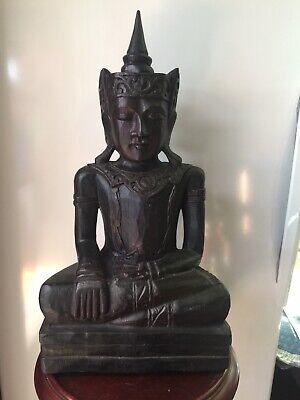"""19"""" Asian Vintage Carved Wooden Buddha Statue"""
