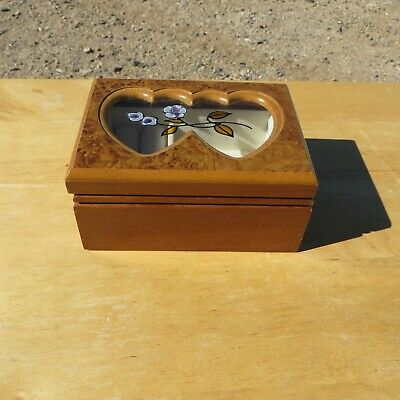 Beautifully Crafted Small Wooden Jewelry Box, Double Heart Cut Out with Glass