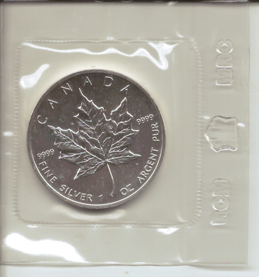 CANADA - 1990 - UNC SILVER $5 DOLLAR COIN in a sealed plastic bag