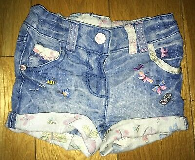 Girls Light Blue Next Denim Shorts Size 3-6 Months