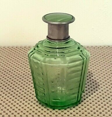 Vintage Green Depression Glass Perfume Bottle With Enamel Lid