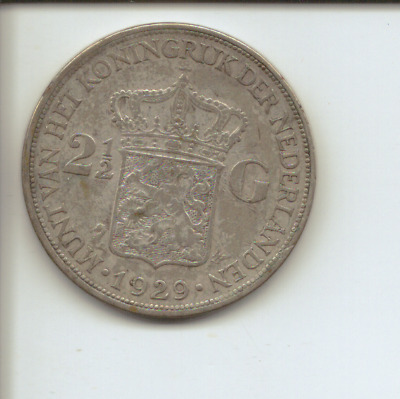 The Netherlands - 1929 - Silver Two & Half Guldens