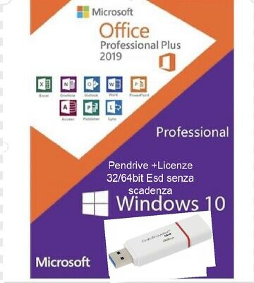PENDRIVE-USB -Windows 10 Pro + Office 2019 Pro + Cod Licenze + istruzioni-ITA