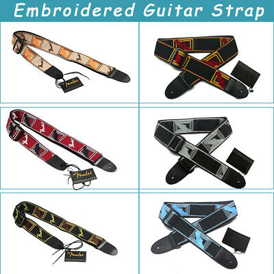 Embroidered Guitar Strap Adjustable Fender Straps For Electric Acoustic Guitar