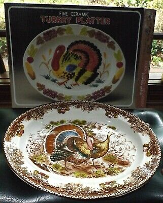 Vintage Never Used In Box - Large Ceramic Turkey Serving Platter- Made In Japan