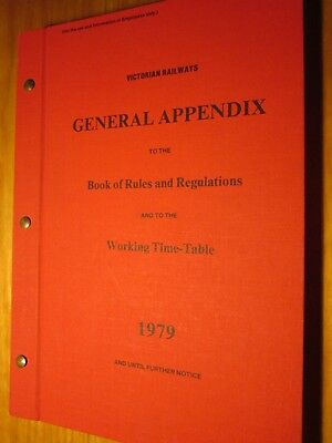 Victorian Rail General Appendix to Book of Rules/Regulations. Issued 1979.