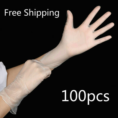 100 pcs Transparent Sanitary Gloves PVC Cosmetic Tattoo Work Protection Gloves