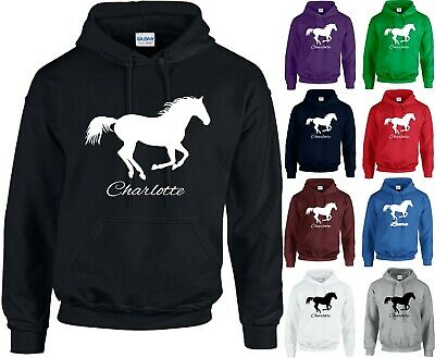 Personalised Horse Printed Hoodie Equestiran Riding Pony Adults Kids Tops Jumper