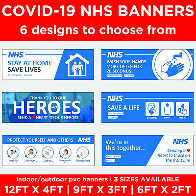 NHS Banner 6 Different designs & sizes available virus health and safety sign