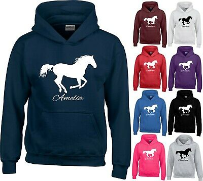Personalised Horse Printed Hoodie Equestiran Riding Adults Kids Pony Jumper Tops