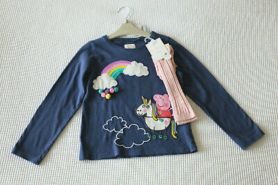 Next Girls Navy Peppa Pig Top & Pink Cable Knee High Socks Age 5-6 Years BNWT