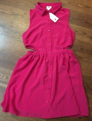 NWT One Clothing Women's Sz M Pink Sleeveless Casual Dress Button Up Cut Out