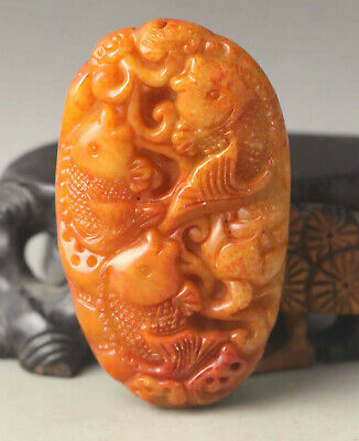 Old Chinese natural jade hand-carved three fish pendant