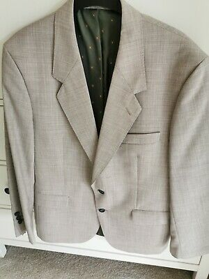 Men's Accent French Lightweight Jacket. Wool Blend. Beige. Lined. Size 42in. NEW