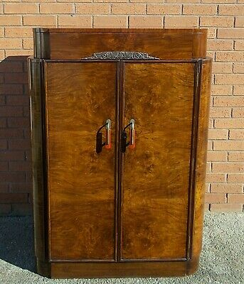 Original Art Deco Walnut Tallboy Mirror Fitted Cabinet Storage 178 cm
