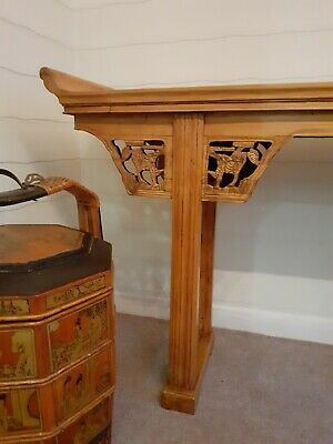 Large Antique Chinese Altar Table Console Guardian Foo Dog Lion Carvings 79 inch