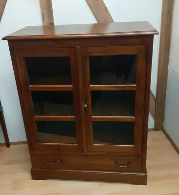 Solid Mahogany Glazed Locking Library Bookcase Cabinet Very Heavy