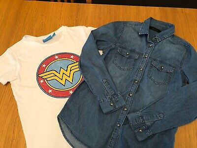 2 Ladies Size 6 TOPs - New Look Denim Shirt , Wonder Woman Top - Job Lot