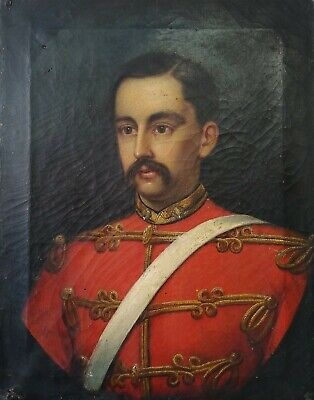 Fine 19Th Century Oil On Canvas Portrait Of A Gentleman Officer Antique Painting