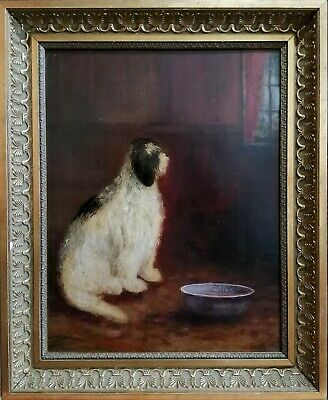 19Th Century Oil On Canvas - Old English Sheep Dog - Antique Portrait Painting