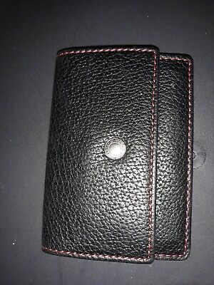 COACH Black Pebbled Leather small Slim Credit Card Cash Organizer Wallet Case