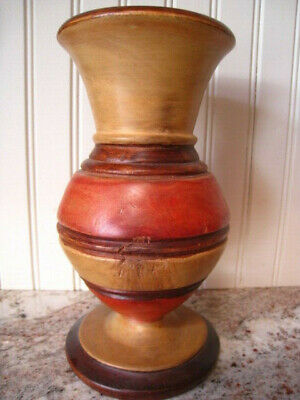 "Beautiful Vintage Turned Wood Bulbous Vase 8"" tall great patina"
