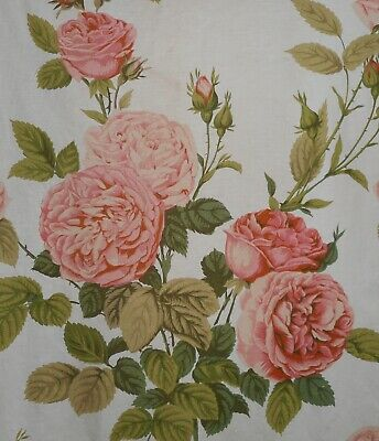 Antique English Lg. Redouté Cabbage Roses Cotton Fabric #2~Apricot  Olive ~ Aged
