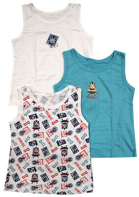 ** Boys Vests 3 Pack Value Thomas the Tank Engine Train Cotton 2-3 Years