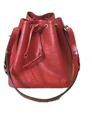 Louis Vuitton Petit Noe Bucket Bag Purse in Red Epi Leather- Pristine Authentic