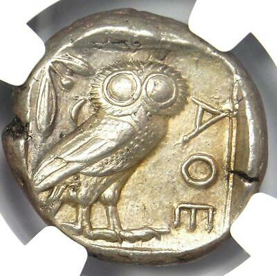 Ancient Athens Greece Athena Owl Tetradrachm Silver Coin (440-404 BC) - NGC AU!