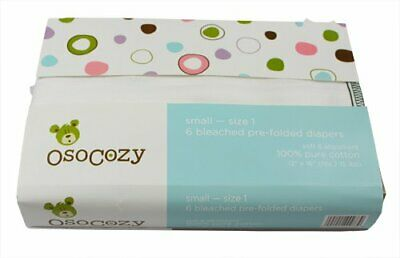 Brand New! Osocozy Bleached Prefold Cloth Diapers - Small Size 1 - 6 Pack