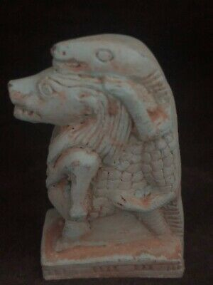 Rare Ancient Egyptian Faience Amulet Sobeck -sekhmet 26th DYN 680 Bc