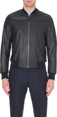 New Paul Smith Mainline Horse Leather Bomber Slim Jacket Men Made In Italy Sz M
