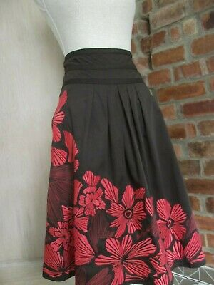 MONSOON Size 10 Brown & Orange  Floral Embroidered  Flare Skirt
