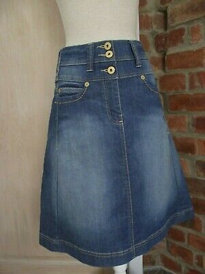 NEXT HIGH WASTED Size 12 L 22,5 '' Blue Denim Stretch Skirt A- line