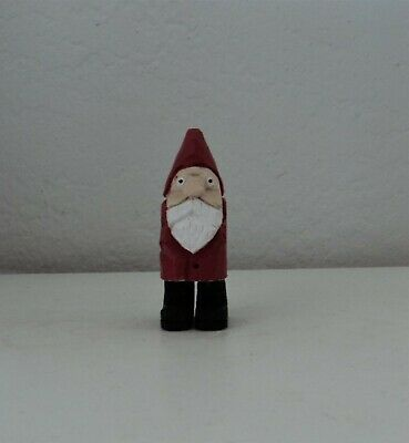 """hand carved miniature wooden santa - 3"""" tall"""