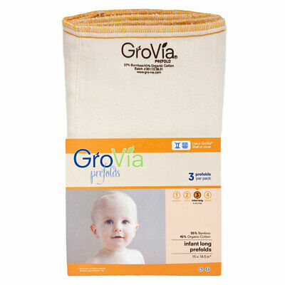 New! GroVia Organic Cotton & Bamboo Prefold - Infant Long Size 3 - Package of 3